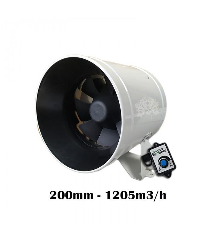 BULL FANS INLINE EC 200 MM 1020 M3/H EXTRACTEUR AVEC CONTROLEUR