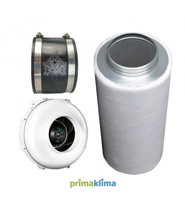 PACK EXTRACTEUR PRIMA KLIMA 125mm 400M3/H + FILTRE A CHARBON + JONCTION